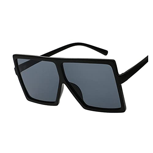 Sombras de Gran tamaño Mujeres Gafas de Sol Negro Moda Cuadrada Gafas Grandes Marco Vintage Retro Vidrios Femenino Unisex Oculos Feminino (Lenses Color : Sand Black)