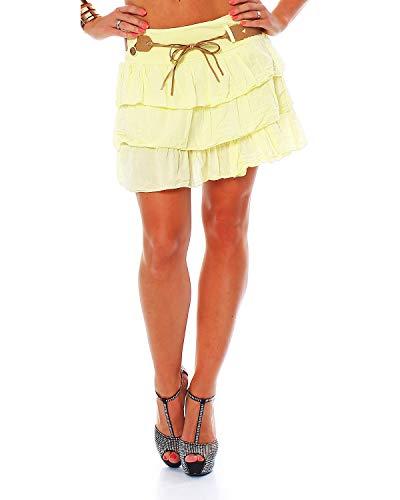 Zarmexx süsser Damen Volantrock Sommerrock Minirock mit Gürtel Baumwolle Rüschen Rock (gelb, one Size)