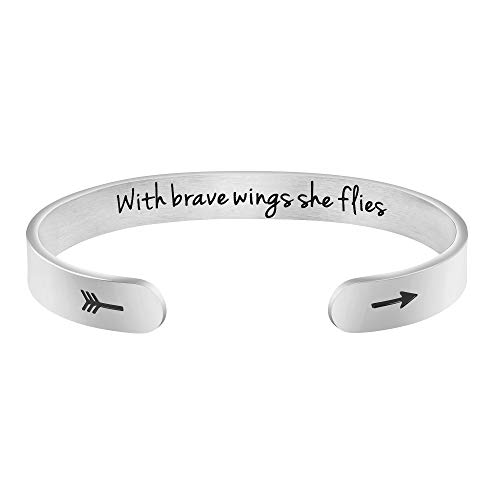 Graduation Gifts for Her Classmate Daughter Sister Girlfriend New Job Gifts for Her Inspirational Mantra Cuff Bracelet