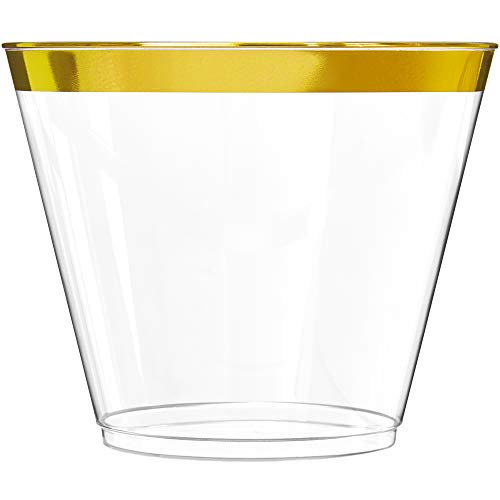 100 Gold Plastic Cups | 9 oz | Hard Disposable Cups | Plastic Wine Cups | Plastic Cocktail Glasses |...