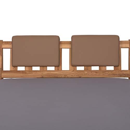 Staboos 2er Set Leder Polsterkissen, Steckkissen für Bettkopfteil zum einhängen, Rückenlehne für Bett mit Kopfteil, SK01 (karamell)