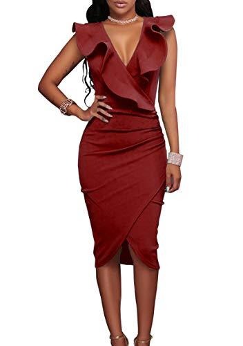 YMING - Vestido de mujer con volantes, asimétrico, cuello en V, vestido de verano, vestido ajustado rojo M