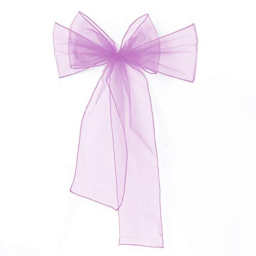Meijuner 25pcs Chair Sashes Organza Sashes Chair Bow For Wedding Party Birthday Chair Decoration 25 Colors Available (Lilac)