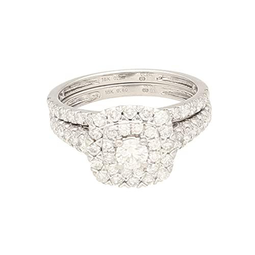 Anillo de lujo para mujer de oro blanco de 18 quilates, diamante de 1,00 quilates (tamaño K 1/2) de 1 mm de ancho y cabeza de 10 x 9 mm