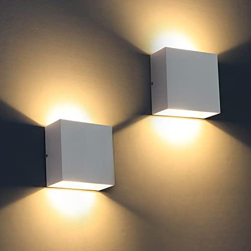 Applique da parete LED, 2Pcs Moderna 12W IP65 Impermeabile Lampada da Parete Interno esterno 3000K su e giù per lampada da parete per soggiorno, camera da letto, corridoio