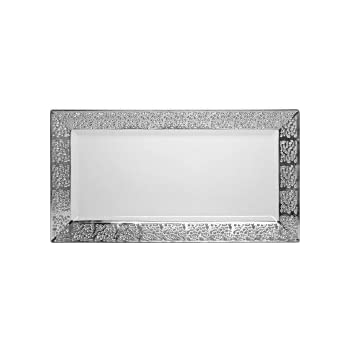 Wedding Party- Elegant Dinnerware Serving Trays 19 x 35 cm Decorline-White with Silver Lace Rim- Heavyweight Plastic Elegant Disposable Plates Inspiration Collection