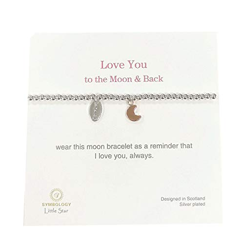 SYMBOLOGY Kids Silver Sentiment Love You to the Moon & back Bracelet with Moon Charm. (Boxed) 1314