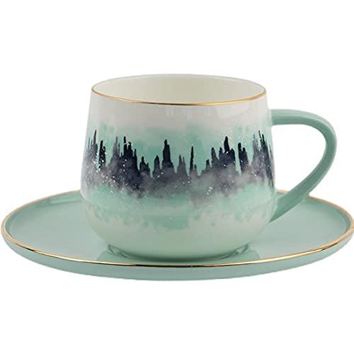 XDYNJYNL Moderno 8.11z / Tazas de cerámica de 240 ml, taza de café pintada a mano taza de té con mango aislado gafas de highball de beber tumblers de porcelana recta grande para cacao de cóctel y bebi