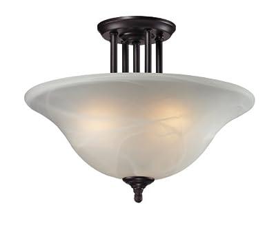 Z-Lite 2113SF Athena Three Light Semi-Flush Mount, Steel Frame, Bronze Finish and White Swirl Shade of Glass Material