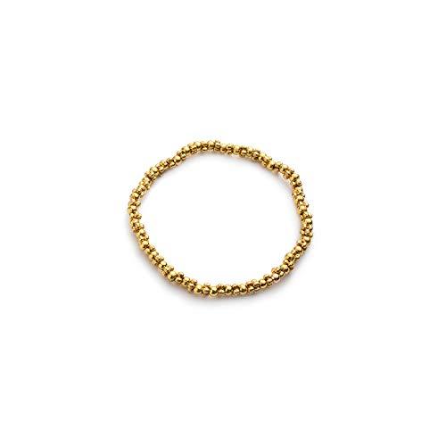 PG2003 – Pulsera elástica con miniesferas, chapada en oro