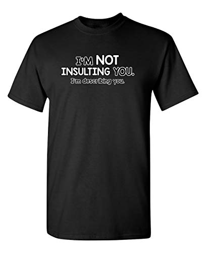 Not Insulting You Describing Graphic Novelty Sarcastic Funny T Shirt XL Black