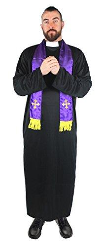 I LOVE FANCY DRESS LTD Un déguisement de curé pour Adulte avec Une Robe Noire à col Blanc + Une écharpe Violette. Idéal pour Les enterrements de Vie de garçon. ( Small )