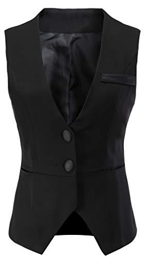 Vocni - Chaleco para mujer con cuello en V Negro Negro ( XXL