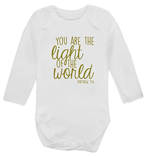 Flox Creative Gilet à manches longues pour bébé Inscription You are the light of the world - Blanc - XS