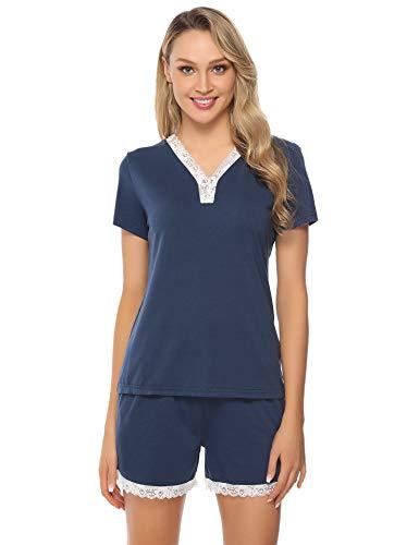 Aibrou Pijama Mujer Corto Verano Algodon Set,Pijama Encaje M