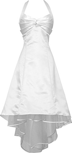 PacificPlex Satin Halter Dress Prom Bridesmaid Holiday Junior Plus Size, 2X, White