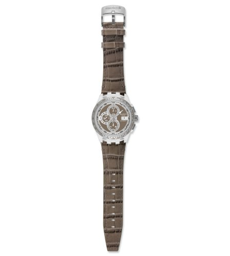 Swatch Right Track SVGK409 - Reloj de Caballero automático, Correa de Piel Color Gris