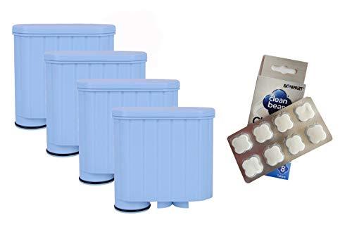 Scanpart - 4 filtri dell'acqua compatibile con Saeco Xelsis Incanto Intelia Exprelia Pico Gran Baristo + pastiglie per la pulizia