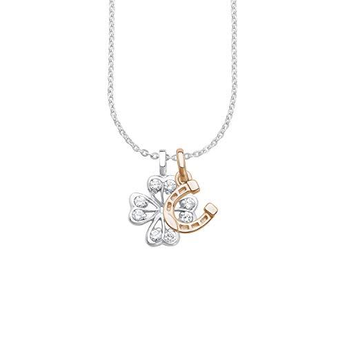 amor Kette mit Anhänger für Damen 45 cm Kleeblatt/Hufeisen Glücksbringer 925 Silber teil-rosévergoldet