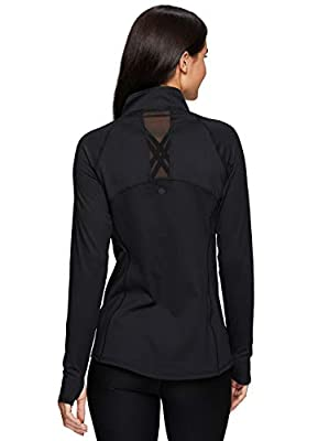 RBX Active Women's Athletic Long Sleeve Mock Neck Super Soft Peached Zip Up Running Jacket with Pockets S20 Black M