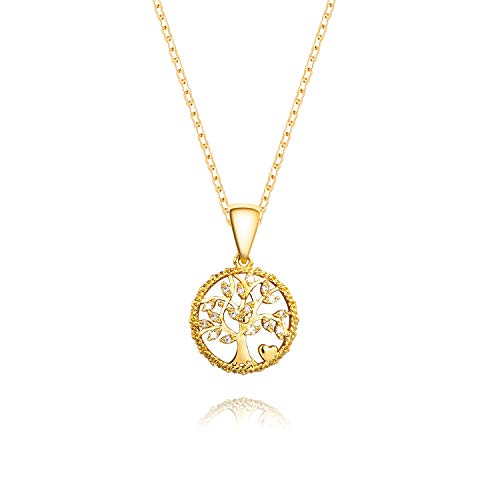 Decoself Family Tree of Life Jewelry Pendant Necklace 16 Diamonds 18K Gold Gifts for Women Girls