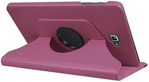 YYLKKB para Samsung Galaxy Tab A A6 10.1 2016 SM-T580 T580N T585 T585C Funda para Tableta Soporte Giratorio de 360 Grados Funda Protectora de Cuero-Púrpura