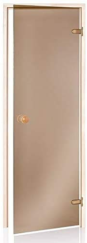Saunatür 70x200 | Rahmen: Espe | Glasfarbe: Bronze