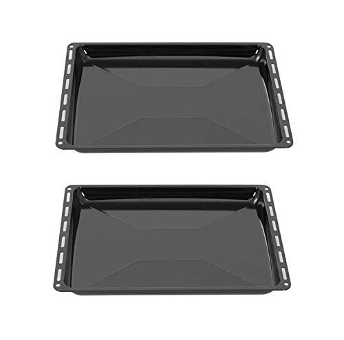 ICQN Backblech 455 x 375 x 30 mm Set | 2er Emaillierte Fettpfanne für Backofen und Herd | Passend für Bosch Siemens Neff Constructa | Kratzfest & Rostfrei | 45,5 x 37,5 cm