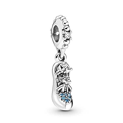 925 Plata Real Perla Cinde Cristal Zapatilla Ratones Dangle Charm Moda Mujer...