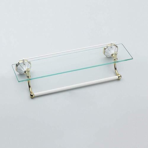 RSWLY Estante de vidrio, estante de cristal de una sola capa, soporte de pared con barra de toalla de cobre, flor de porcelana blanca estante de baño (tamaño: 60 cm)