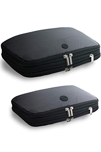 [gattertail]圧縮バック 衣類を50%簡単圧縮 海外旅行 旅行便利グッズ 選べる2サイズ セット (ブラック、グレー)