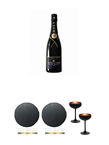 Moet Chandon Nectar Imperial Champagner 0,75 Liter + Schiefer Glasuntersetzer RUND ca. 9,5 cm Durchmesser + Sektschale/Champagnerschale Stölzle 2 Gläser