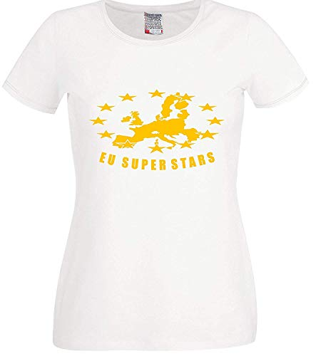 RISKYT Europese Unie Brexit Peoples Vote Referendum EEU Kaart Super Stars Dames T-Shirt