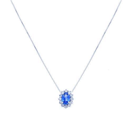Anelie Gioielli - Collana Donna in Oro Bianco 18 carati con Zaffiro Blu Naturale e Diamanti, Catenina Veneziana 45cm