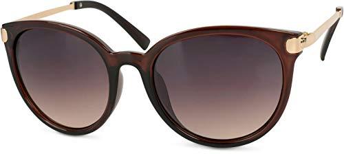 styleBREAKER Sonnenbrille mit Katzenaugen Cat Eye Gläsern und Metall Bügel, runde Glasform, Damen 09020073, Farbe:Gestell Braun-Gold/Glas Braun Verlauf