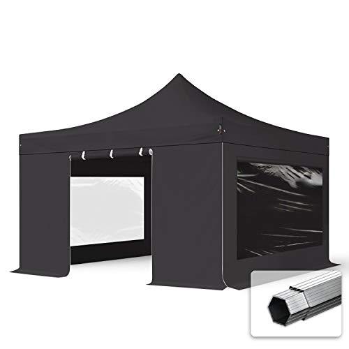 TOOLPORT Faltzelt Professional 4x4 m - mit 4 Seitenteilen (Panoramafenster) Faltpavillon ALU Pavillon Partyzelt schwarz