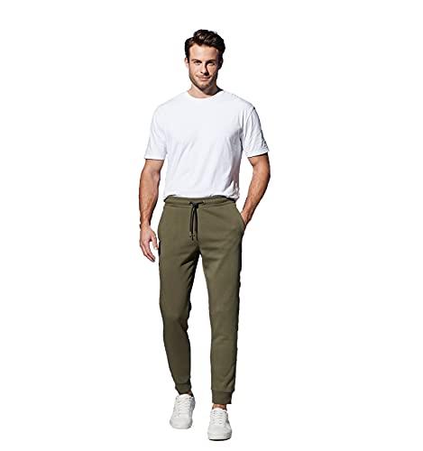 Herren Joggpants, Jogginghose, Sweatpants lang, weiche Innenseite, Urban Style, aus nachhaltiger Baumwolle (BCI) (Oliv, L)