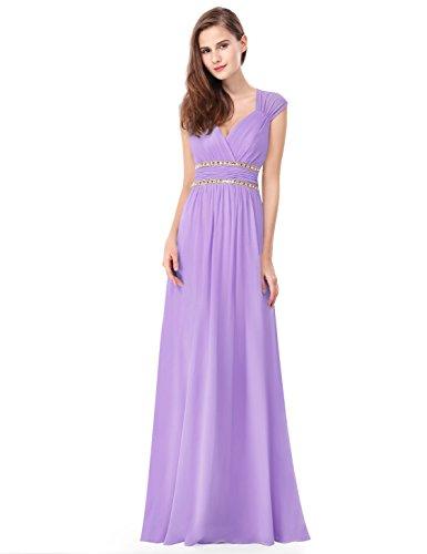 Ever-Pretty Damen Abendkleid A-Linie V Ausschnitt Cocktailkleid rückenfrei lang Lavendel 44