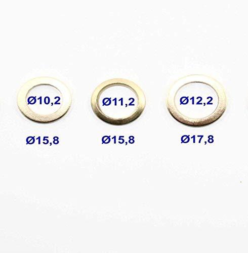 30 teiliges Fitschenring Sortiment - Ø 10,2/11,2/12,2 mm - vermessingt - Fitschenringe I Unterlegscheibe I Türscharnier