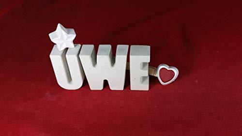 Beton, Steinguss Buchstaben 3D Deko Namen UWE mit Stern und Herzklammer als Geschenk verpackt! Ein ausgefallenes Geschenk zur Geburt, Taufe, Geburtstag, Namenstag oder auch zu anderen Anlässen.