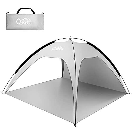 Qomolo Tente de Plage 3 ou 4 Personne, Abris de Plage Anti UV50+ pour Famille,Pliable Extérieur Auvent pour Camping avec 8 Clous au Sol , Randonnée Plage Pêche Jardin,210 * 210 * 130cm, Gris,1.6kg