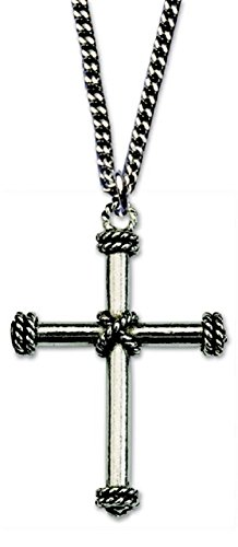 H. J. Sherman Genuine Pewter Cross Necklace with Rope Accents 24' Endless Chain in Gift Box