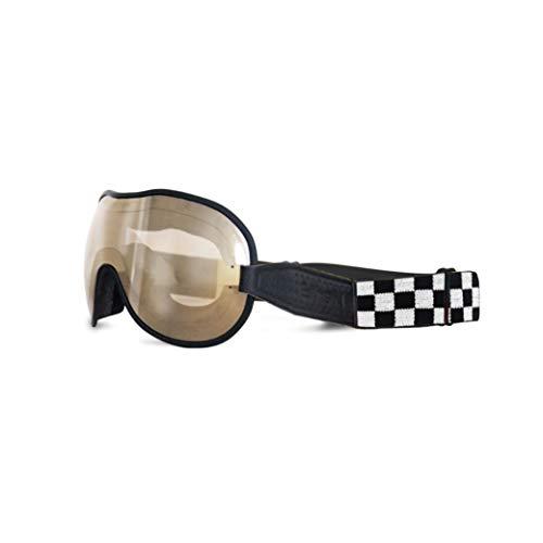 Ethen Gafas/Máscara (Cafè Racer) Vintage para Motocicletas y Motocross, Lente Ultra Amortiguador Espejado Rojo Fotocromático, Anti UV, Elástico Intercambiable, Cuadros, Made in Italy