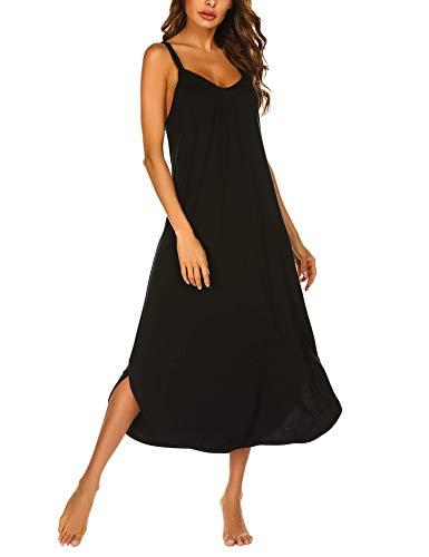 Ekouaer Womens Full Length Nightgown Full Slip Nightwear Rayon Sleeveless Loungewear Soft Nightdress Wear XLarge Black