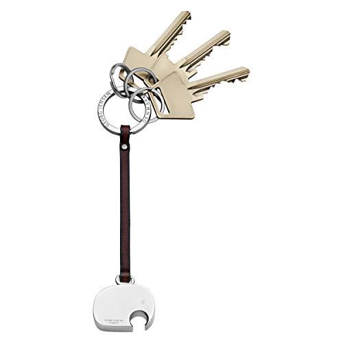 Georg Jensen New Schlüsselanhänger Elefant Aluminium Leder Riemen, Aluminium, Silber, 0,9x 3,1x 14,2cm