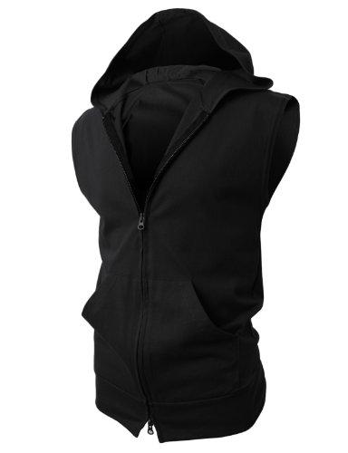 H2H Mens Sleeveless Fashion Hoodies Zip-up with Pocket Black Asia 5XL (JPSK13_N25)