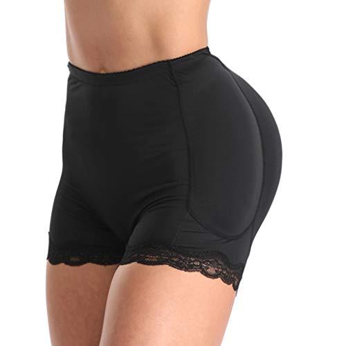 ZHANSANFM Dessous Damen Sexy Nahtlos Unterwäsche Höschen Fraueninnen Push Up Padded Fake Ass Panties Underwear Crotch Halter Lingerie Frauen Slips Hohe Taille Paket Hip Unterhose (M, Schwarz)