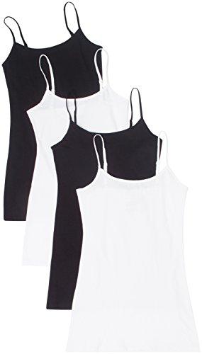 4 Pack Active Basic Women Basic Tank Tops,Black/Black/White/White,Small