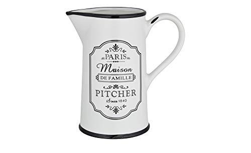 for friends Pitcher Krug Vorratsdose shabby chic Keramik Schwarz Weiß für Kaffee Tee Wasser Limonde Bier