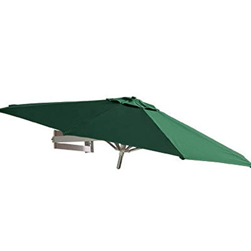 REWD Outdoor Patio Umbrellas Parasols Wall Mount Patio Umbrella with Aluminium Pole, Outdoor Garden Yard Balcony Tilting Sunshade Umbrella, Ø 7ft / 220cm Windproof (Size : Green)